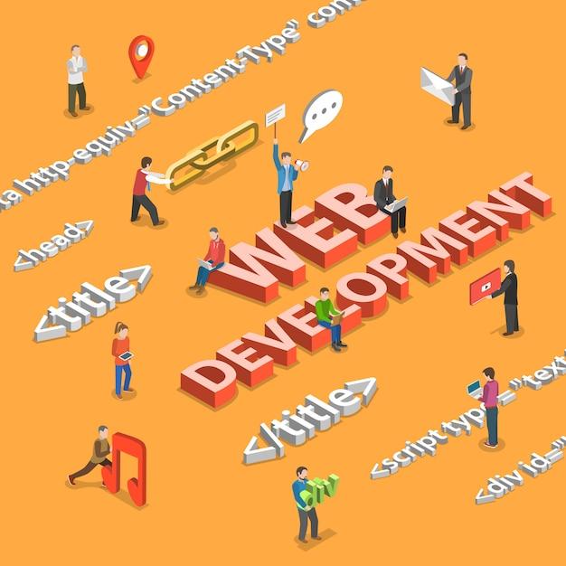 Web development flat isometric Premium Vector