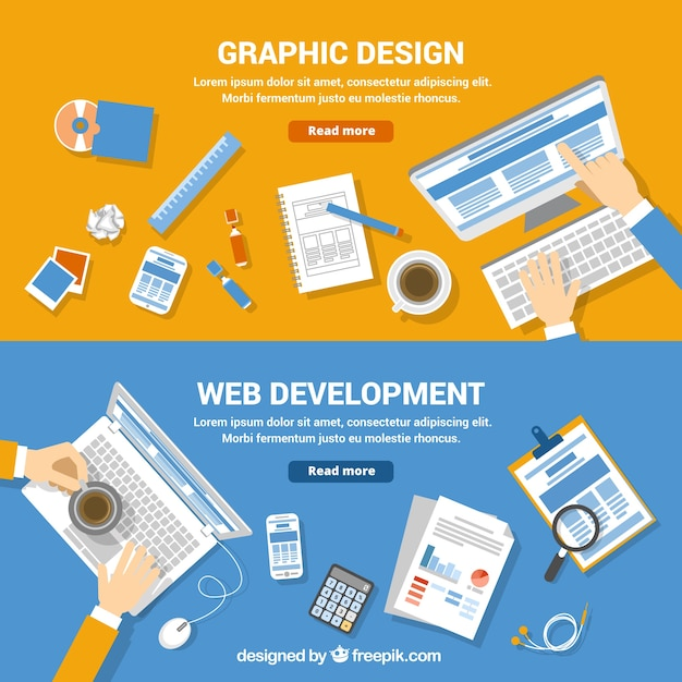 Freepik Web Development And Graphic Design Banners Vector For Free