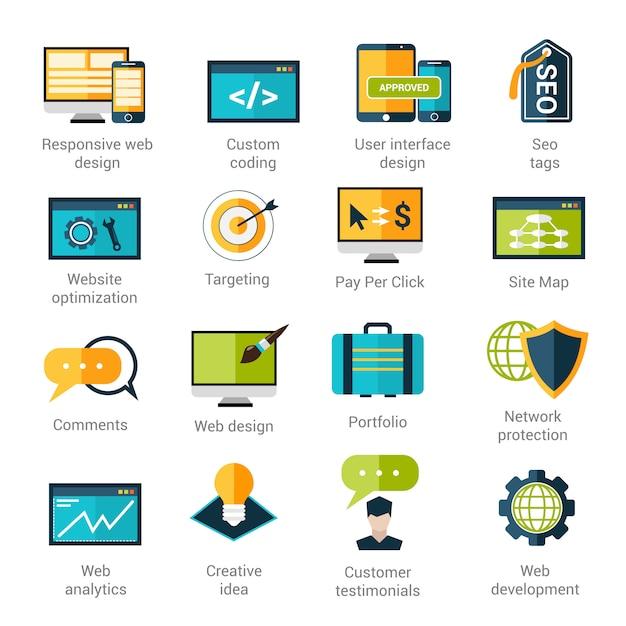 Set di icone di sviluppo web Vettore gratuito