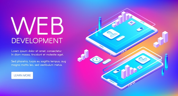 Web development illustration of computer and smartphone application software Free Vector