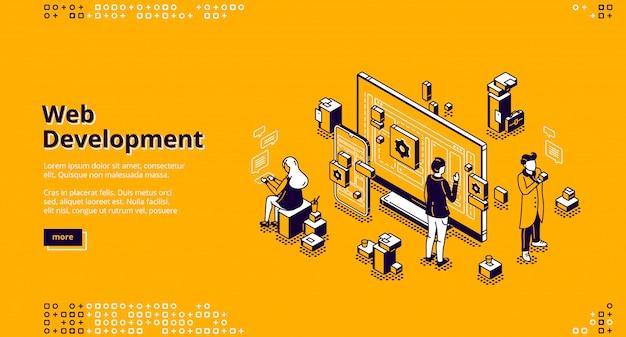 Pagina di destinazione isometrica di sviluppo web, codifica Vettore gratuito
