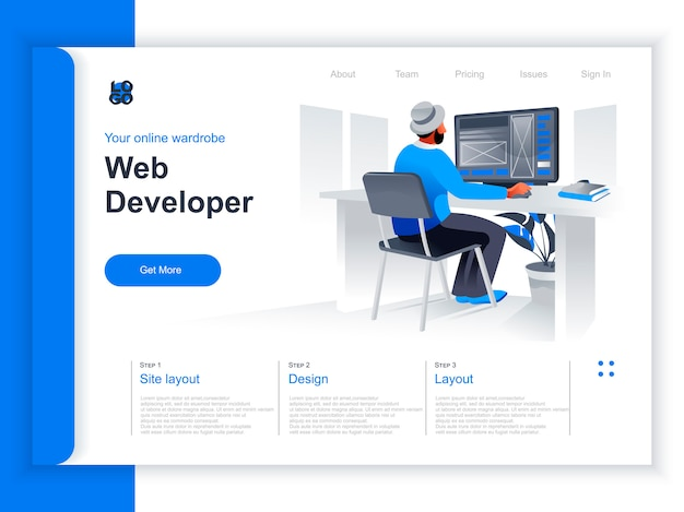 Web Development Isometric Landing Page Web Designer Working With Computer In Office Situation Ui Ux Responsive Interface Design Website Prototyping And Programming Perspective Flat Design Premium Vector