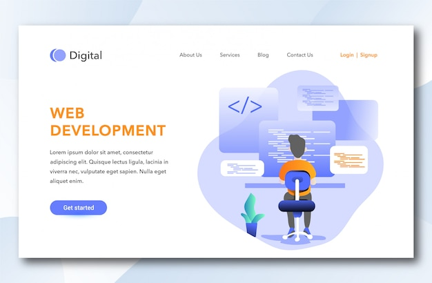 Web development landing page design Premium Vector