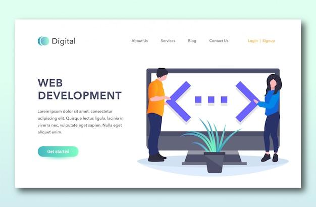Web development landing page Premium Vector