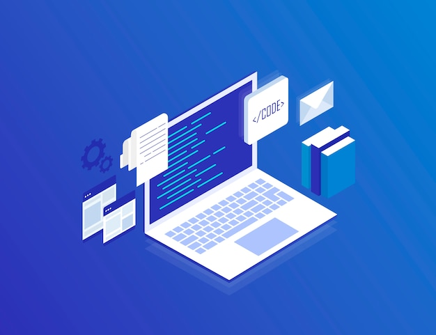 Web development , programming and coding. laptop with virtual screens on blue . modern isometric  illustration Premium Vector