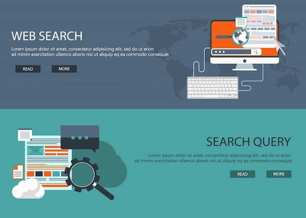 Web development and search banners Free Vector