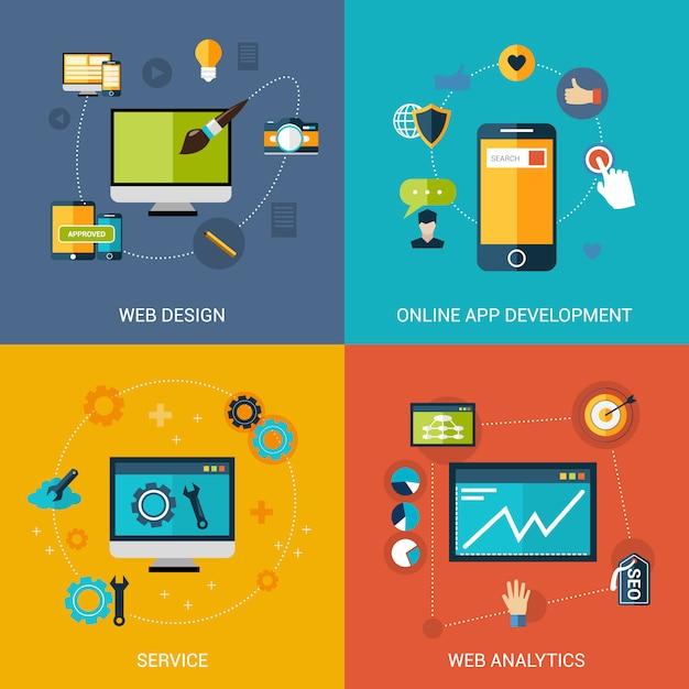 Web development set Free Vector
