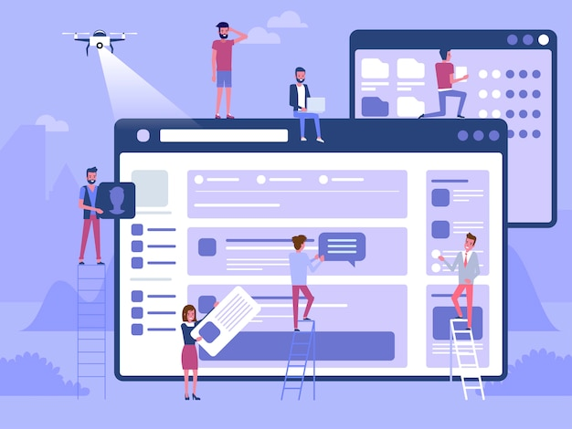 Web  and development. site under construction. a team  young professionals working on a landing page. flat  illustration, clip art. millennials at work. digital creative industry. Premium Vector