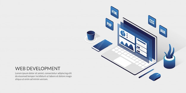 Web Development User Interface Design Concept Isometric Website Development Tools Premium Vector