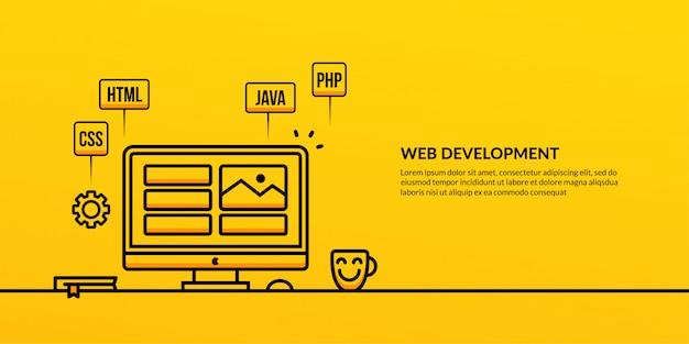 Web development with outline element banner Premium Vector