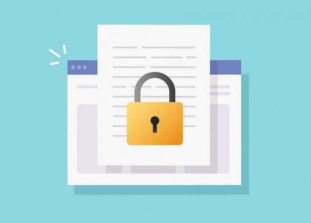 Web document secure confidential online access on internet website vector isolated or digital privacy lock protection on text file flat icon Premium Vector