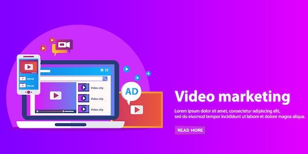 ビデオマーケティング、広告、ソーシャルメディア、webおよびモバイルアプリとサービス、eコマース、seoのための概念。 Premiumベクター