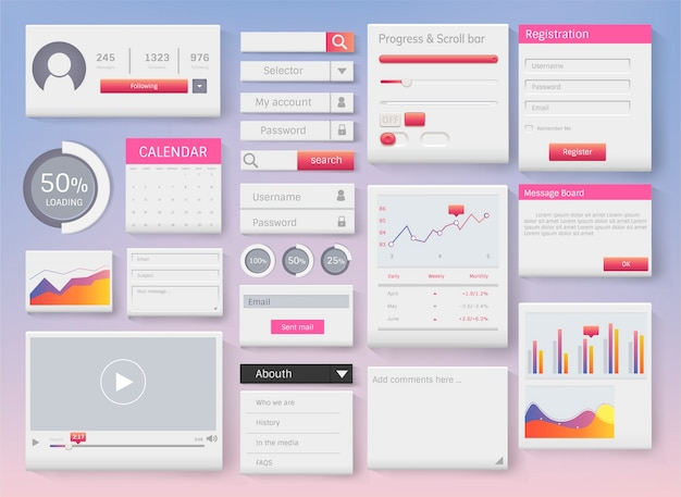 Web element layout template interface illustration Free Vector