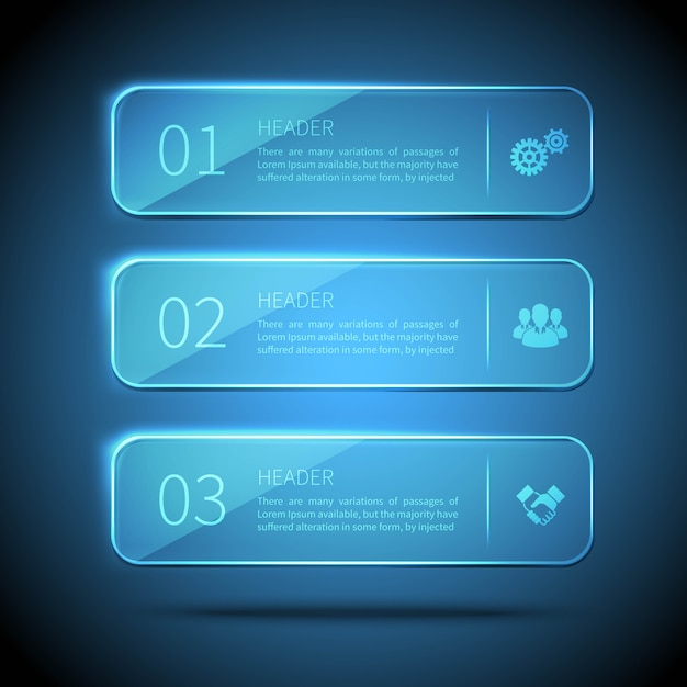 Web elements 3 glass plates for infographic on blue background Free Vector