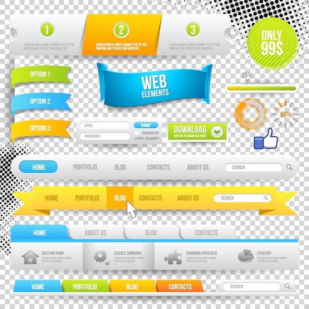 Web elements, buttons and labels. site navigation. Premium Vector