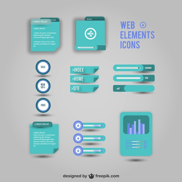 Web elements icons Free Vector