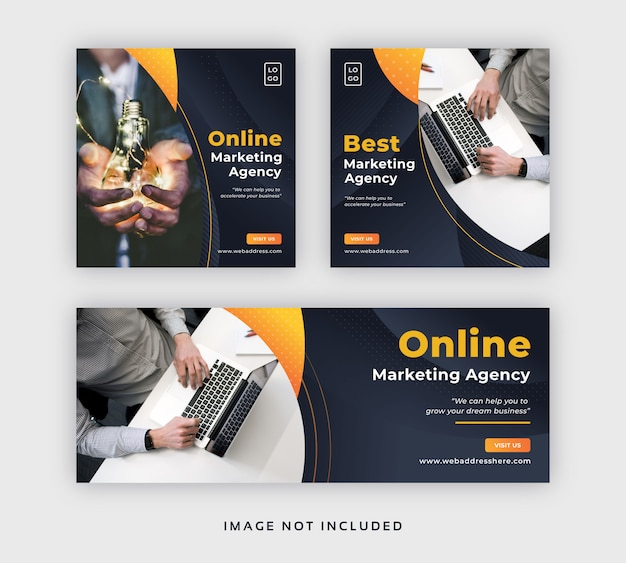 ビジネスマーケティングソーシャルメディア投稿webバナー&facebookカバーテンプレート Premiumベクター