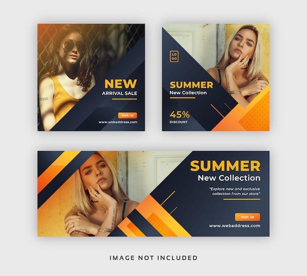 夏のファッションソーシャルメディア販売ポストwebバナー&facebookカバーテンプレート Premiumベクター