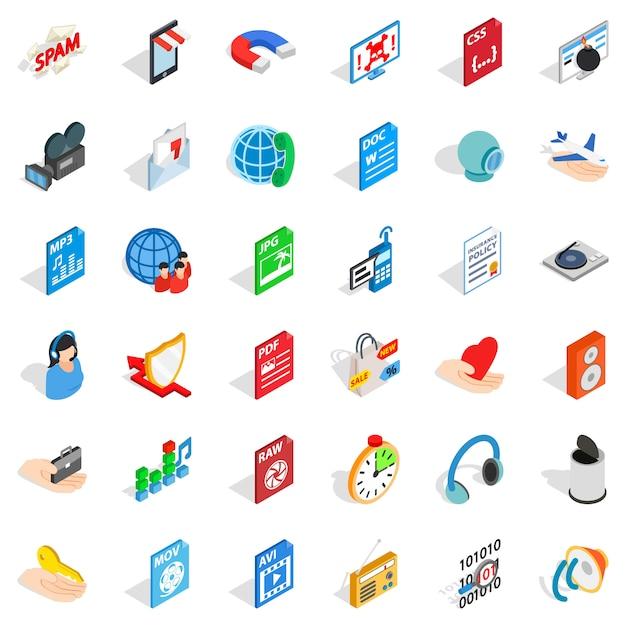 Web folder icons set, isometric style Premium Vector
