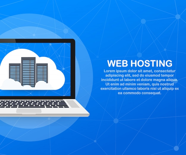 Web hosting concept with cloud computing design. Premium Vector