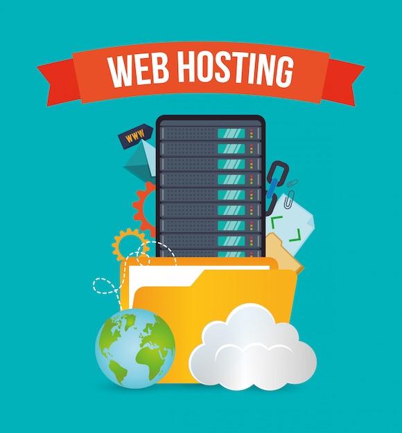 Web hosting design Premium Vector
