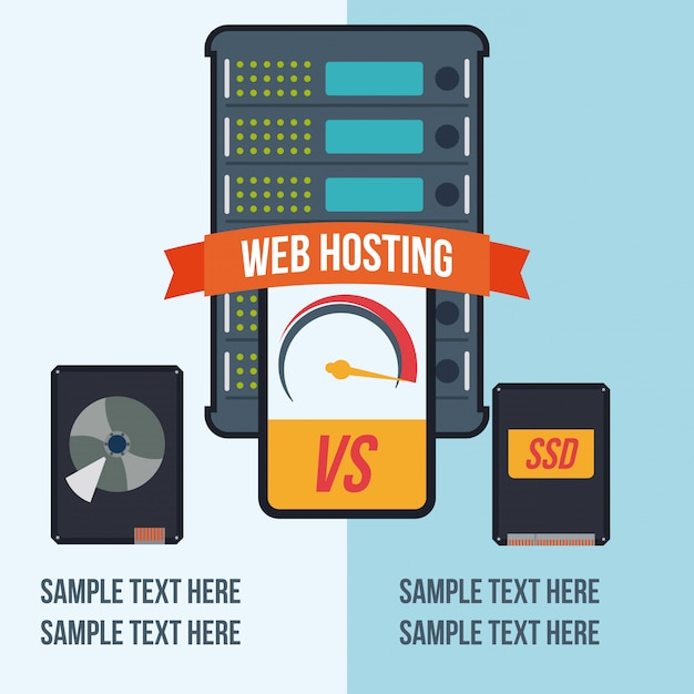 Web hosting design. Premium Vector