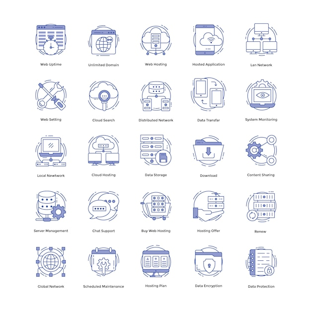 Web hosting icons pack Premium Vector