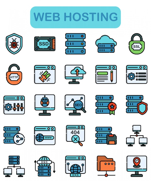 Web hosting icons set, lineal color style Premium Vector
