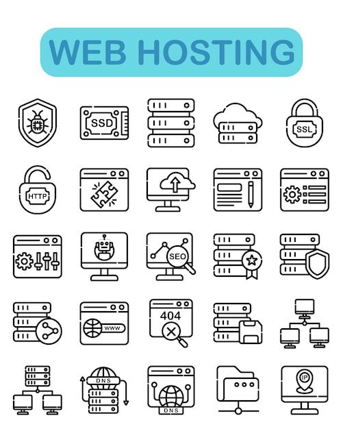Набор иконок веб-хостинга, стиль контура Premium векторы