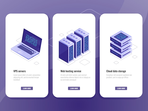Web hosting service isometric icon, vps server room, data