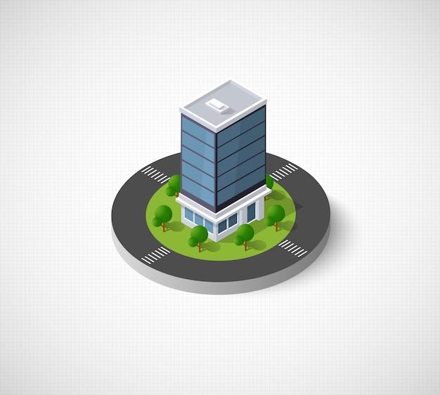 Web icon isometric 3d city infrastructure, urban Premium Vector