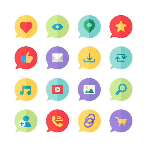Web icons for blog and social networks, online shopping and email, files of video Premium Vector