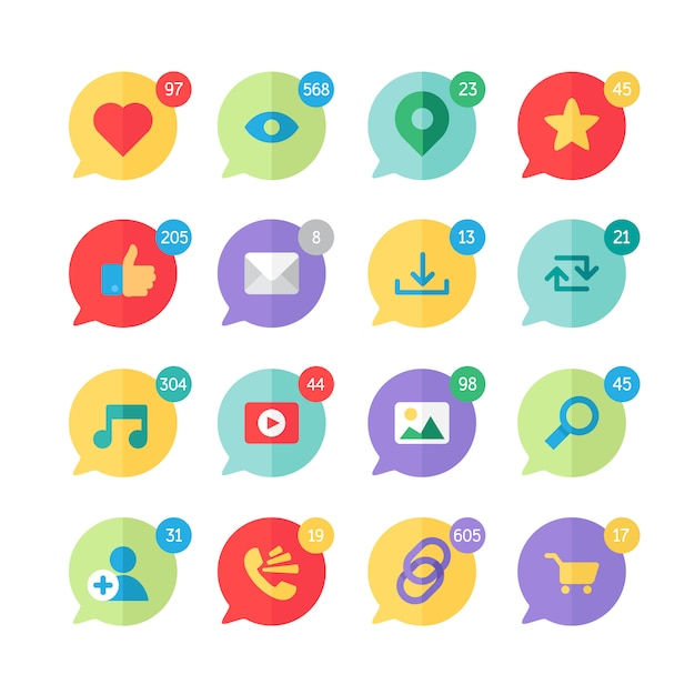 Web icons for blog and social networks Premium Vector