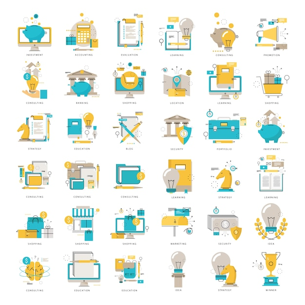 Web icons collection flat line vector illustration. line icons set. flat design web graphic elements for finance, business, money, investment, online shopping, education, e-learning, internet safety Premium Vector