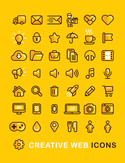 Web icons set linear flat outline style  icon. Free Vector