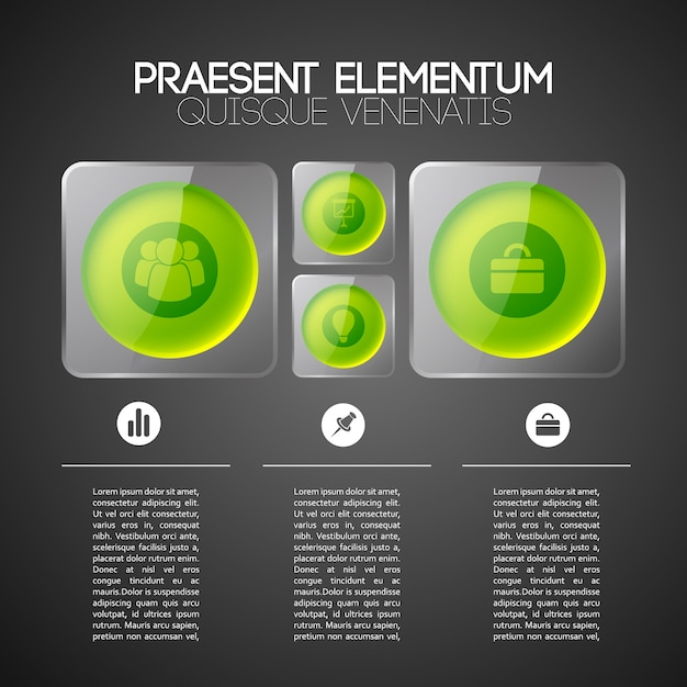 Web infographic business template with green circles in gray glass square frames and icons Free Vector