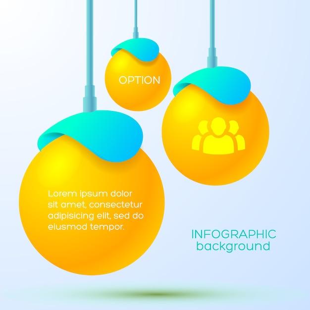 Веб-инфографический бизнес-шаблон с подвешенными оранжевыми тремя шарами с текстом и значком команды Бесплатные векторы