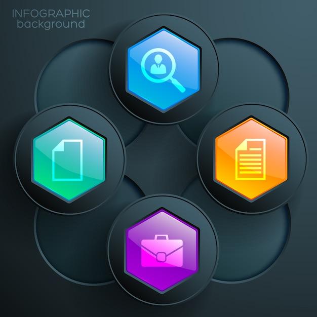 ビジネスアイコンカラフルな光沢のある六角形のボタンとくまを持つwebインフォグラフィックチャートの概念 無料ベクター