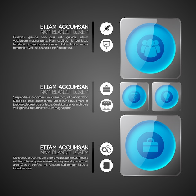 Web infographic concept with blue circles in gray glass square frames and business icons Free Vector
