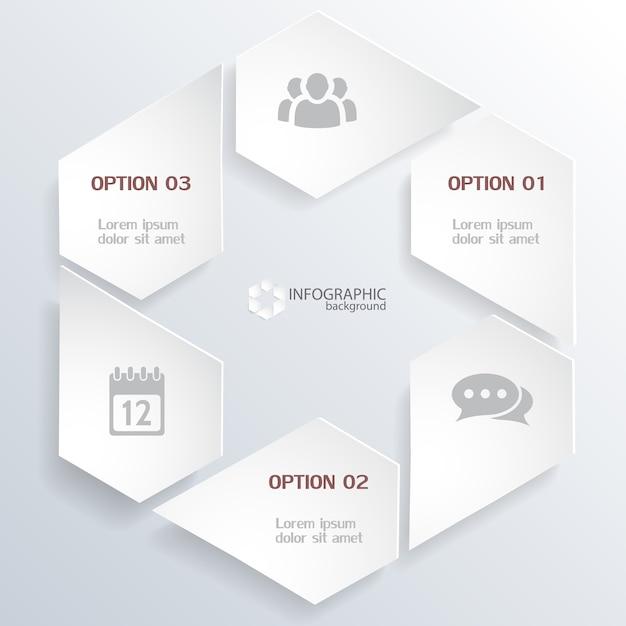 Concetto di infografica web con elementi grigi in forma esagonale e icone isolate Vettore gratuito