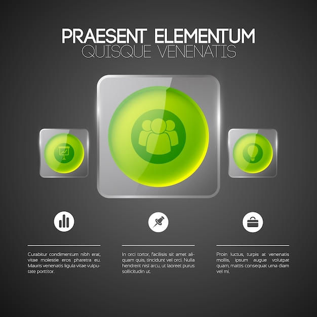 Web infographic template with business icons three green round buttons in glass square frames Free Vector