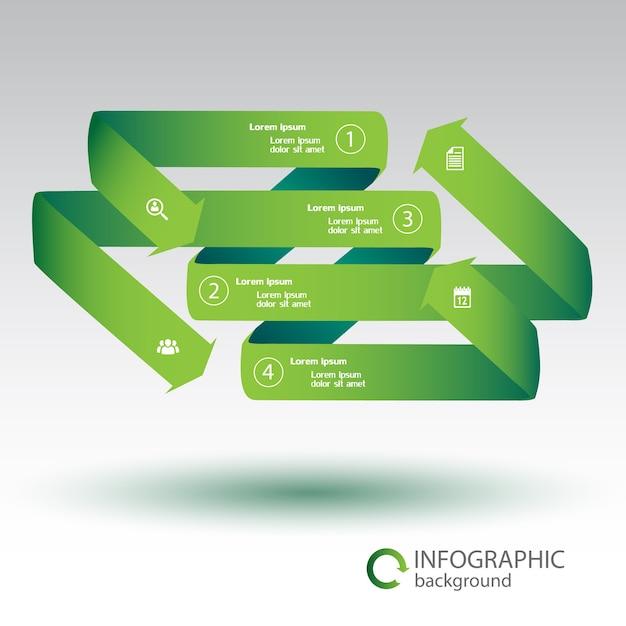 녹색 구부러진 리본 화살표 4 옵션 및 격리 된 흰색 아이콘 웹 인포 그래픽 템플릿 무료 벡터