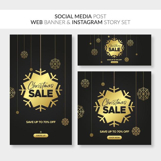 Web、ソーシャルメディアの投稿、instagramのストーリーのクリスマスセールのバナー Premiumベクター