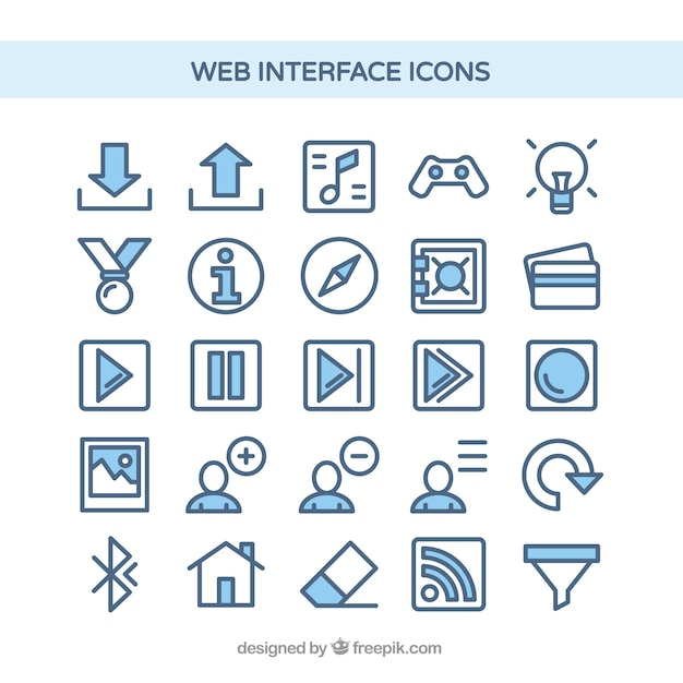 Web interface icons in blue color Free Vector