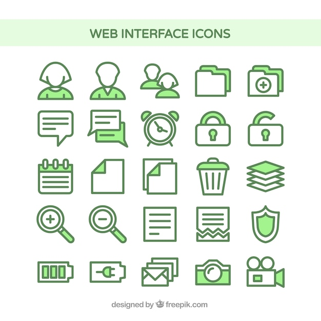 Web interface icons in green color Free Vector
