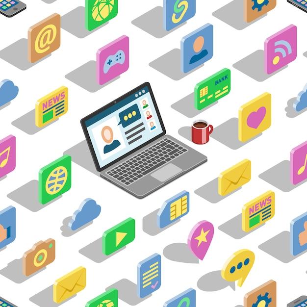 Web等尺性のアイコン3 dオフィスコレクションセットとビジネス等尺性の象徴的なシンボルデジタルインターネットとソーシャルメディアのシームレスなパターン背景を持つウェブサイトのコンピューターラップトップボタン Premiumベクター