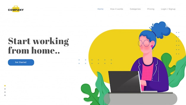 Web or landing page design with woman character working on laptop for start working from home. Premium Vector