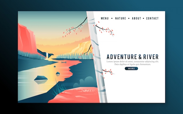 Web landing page with birch tree and river sunset Premium Vector