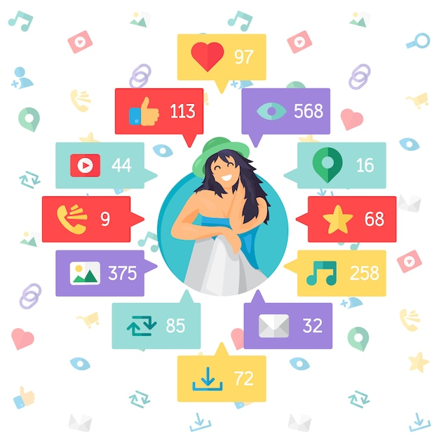 Web life of happy woman from blog and social networks, online shopping and email Premium Vector