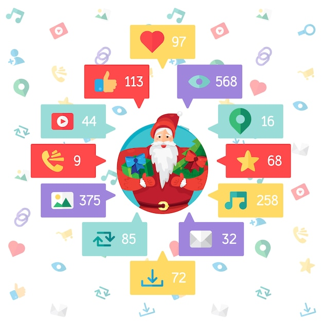 Web life of santa claus from blog and social networks Premium Vector
